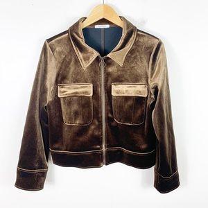 Zara crushed velvet metallic brown bomber jacket